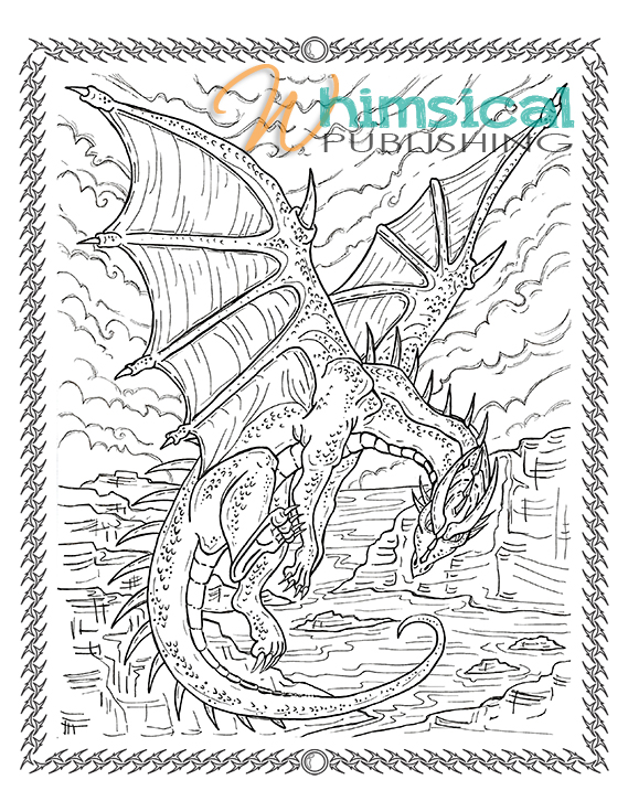 Dragons - Coloring Pages for Adults | 736x569