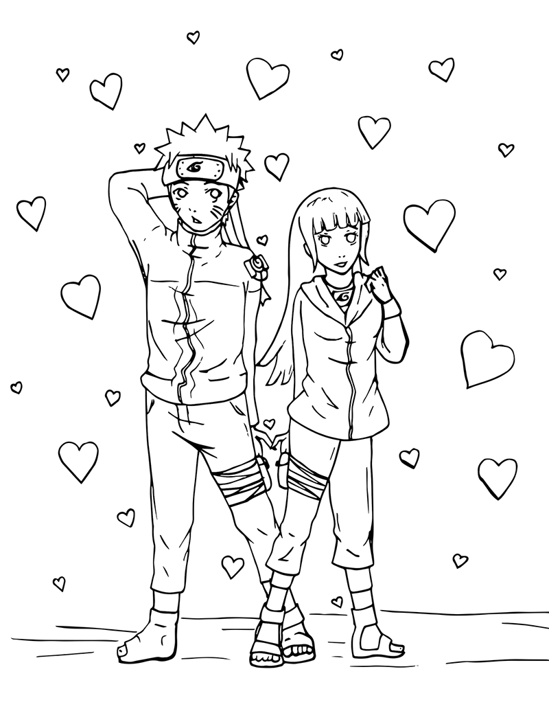 Naruto and hinata valentine s day colouring page for Free naruto coloring pages